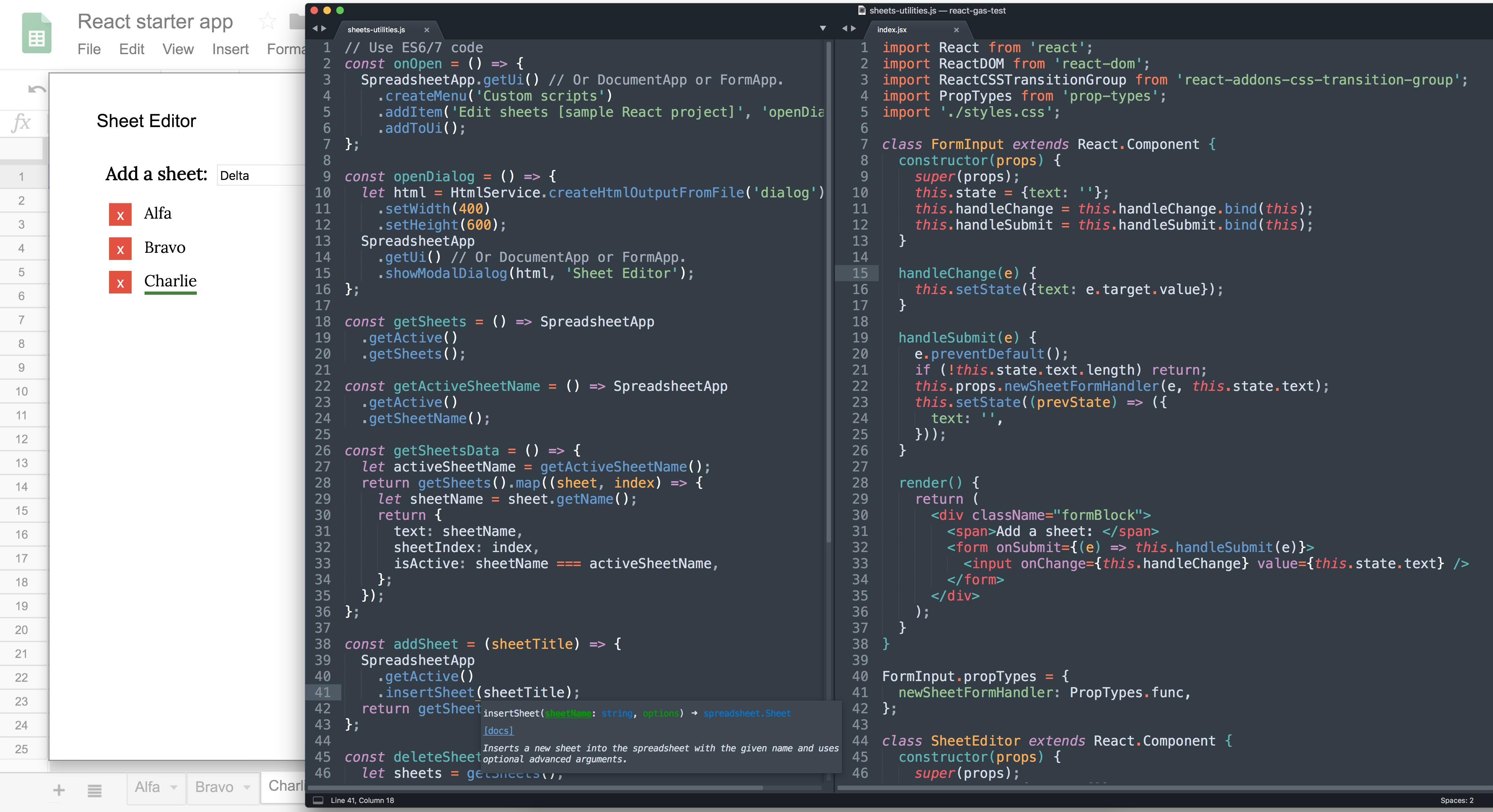Google Apps Script / React development