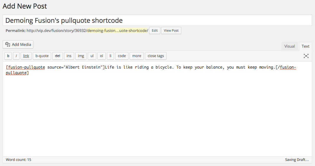 Without Shortcake, shortcodes have a minimal UI.