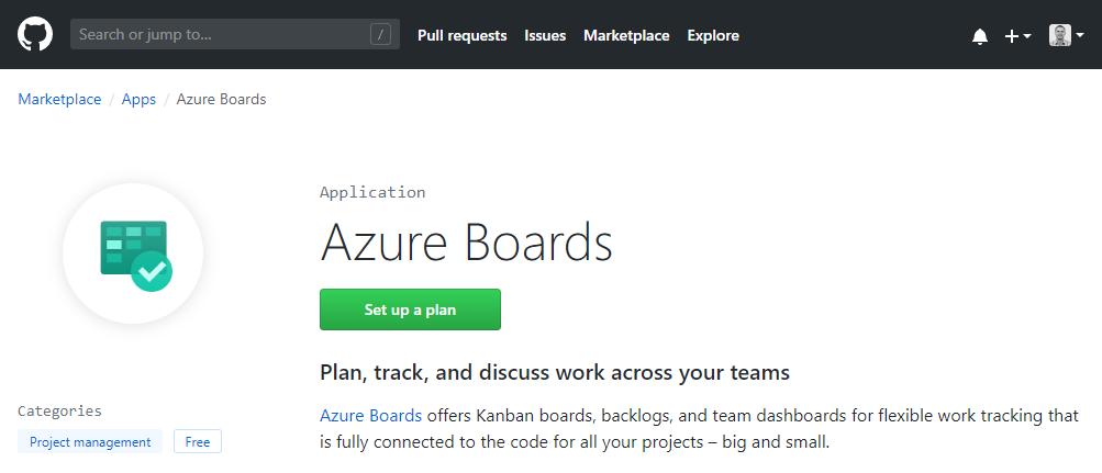 GitHub marketplace Azure Board App