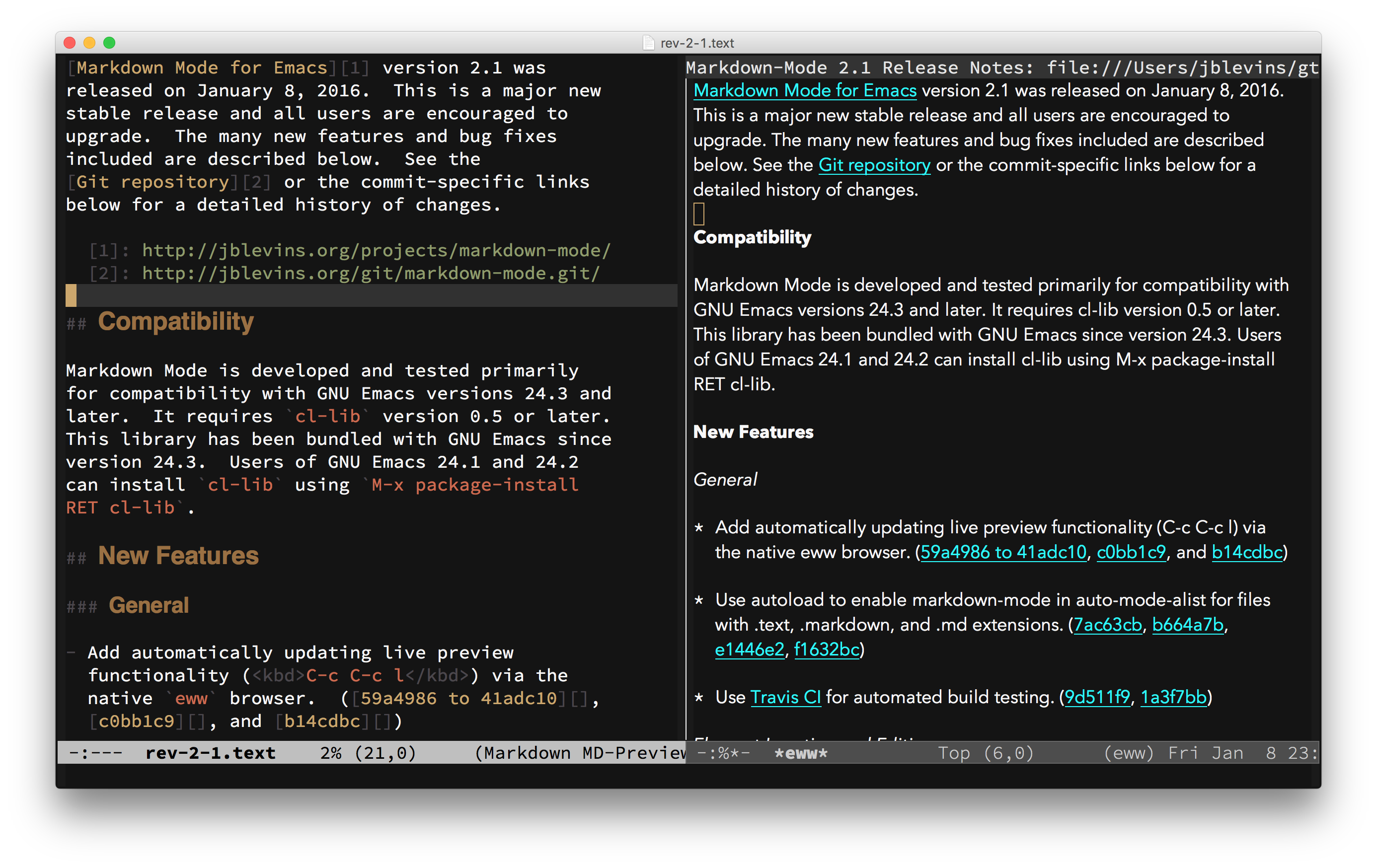 Markdown Mode Screenshot
