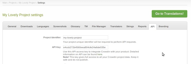 Crowdin project settings