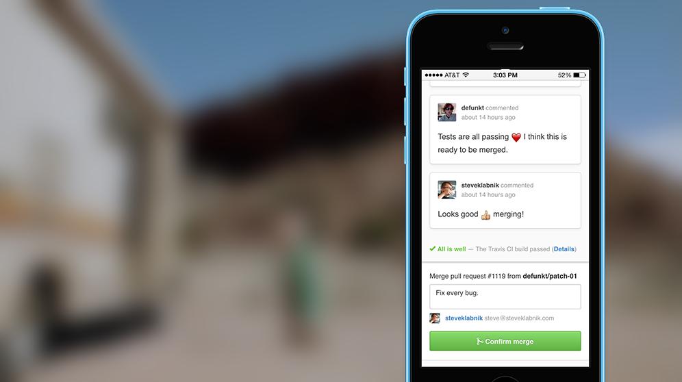 Screenshot of mobile merge button