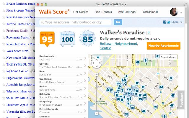 Right-Click Walk Score Craigslist screenshot