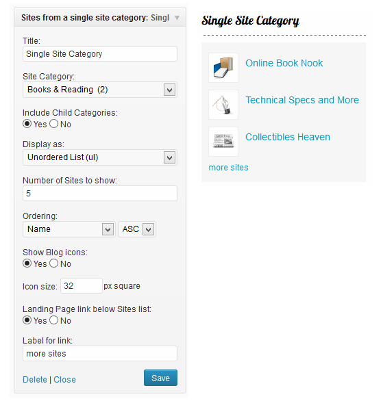 Sites from a Single Category widget options and example.