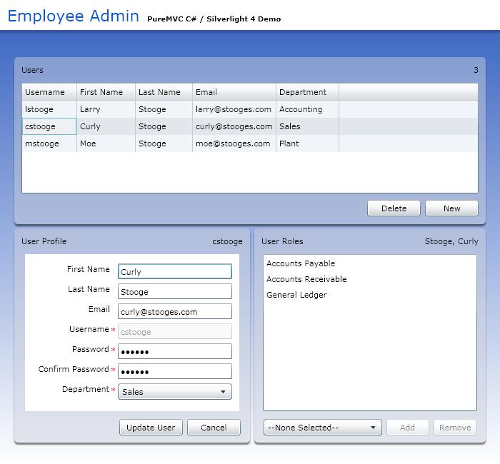 PureMVC C# Demo: Employee Admin WPF