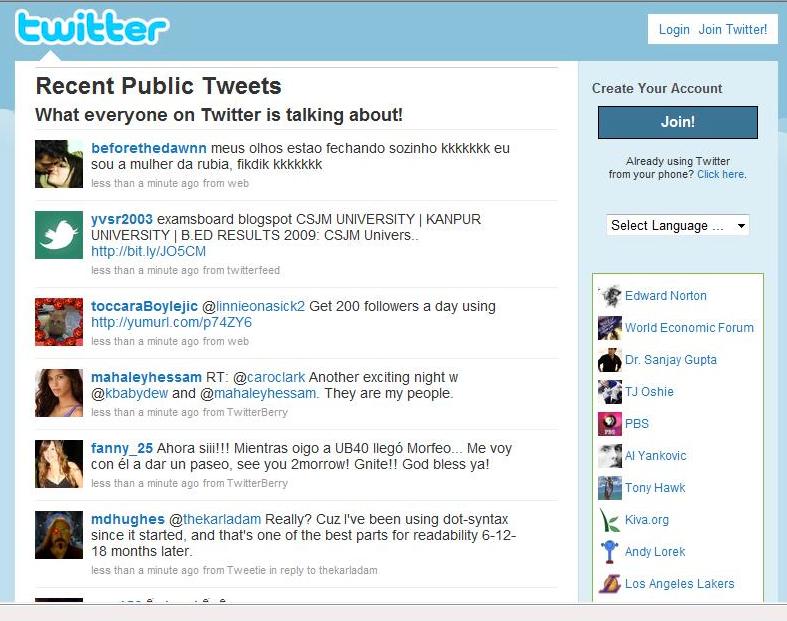 Twitter public timeline