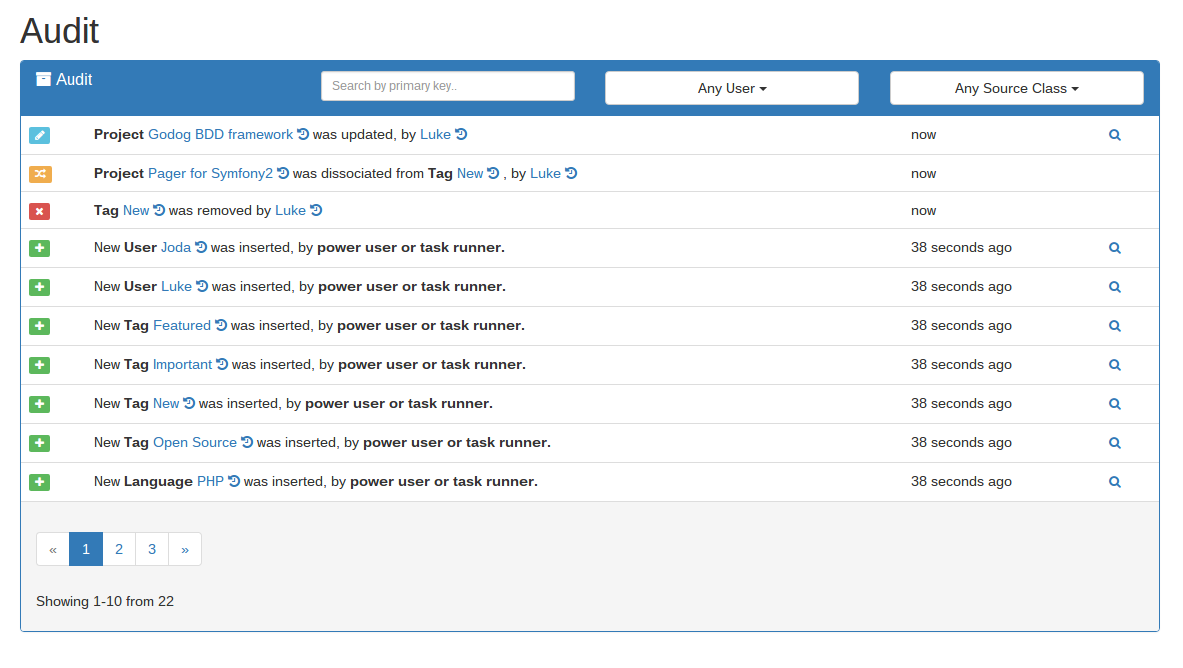all paginated audit log screenshot
