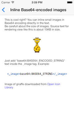 FTCoreText inlined Base64-encoded images example screenshot