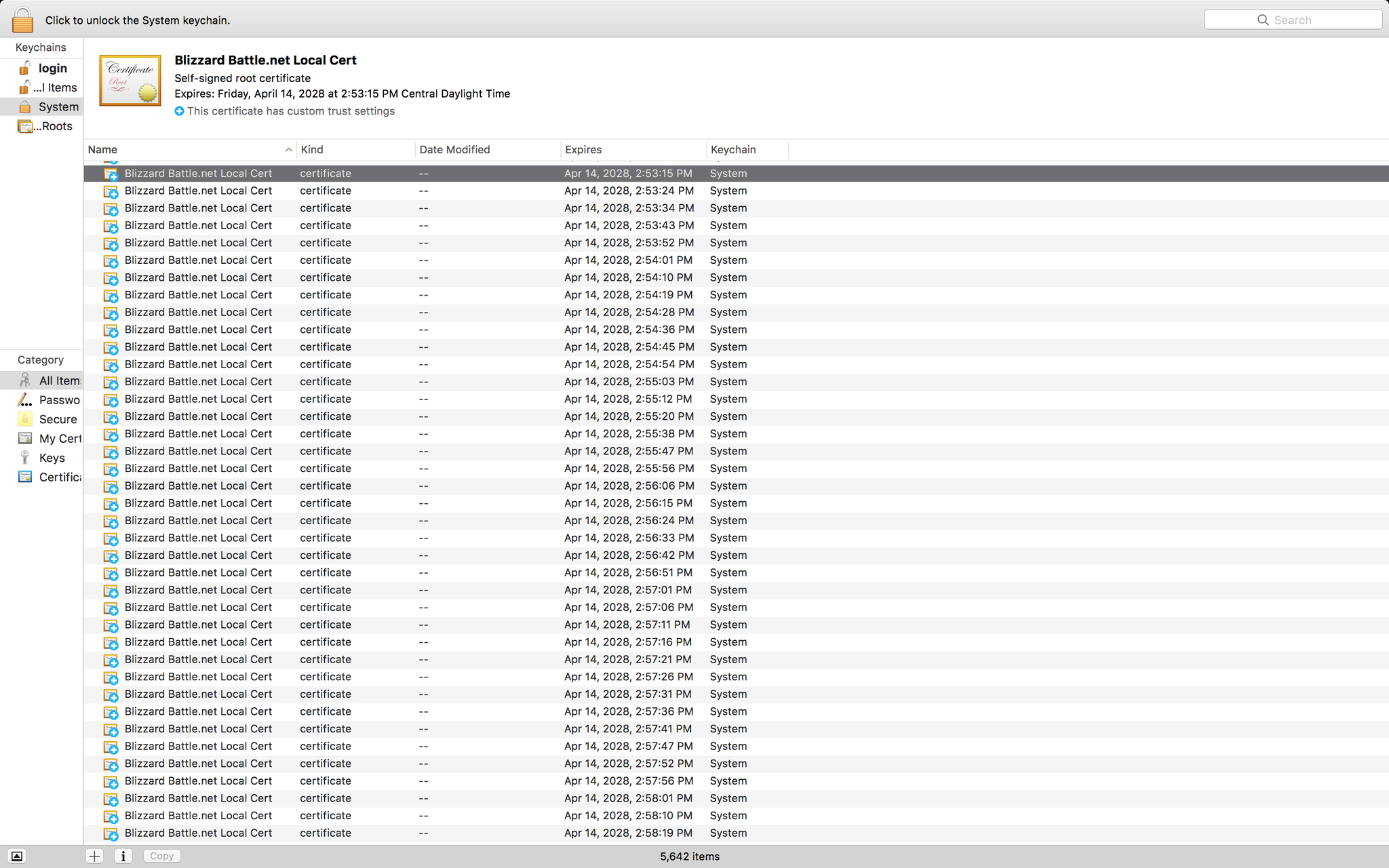 Screenshot of 5000 certificates in the System Keychain