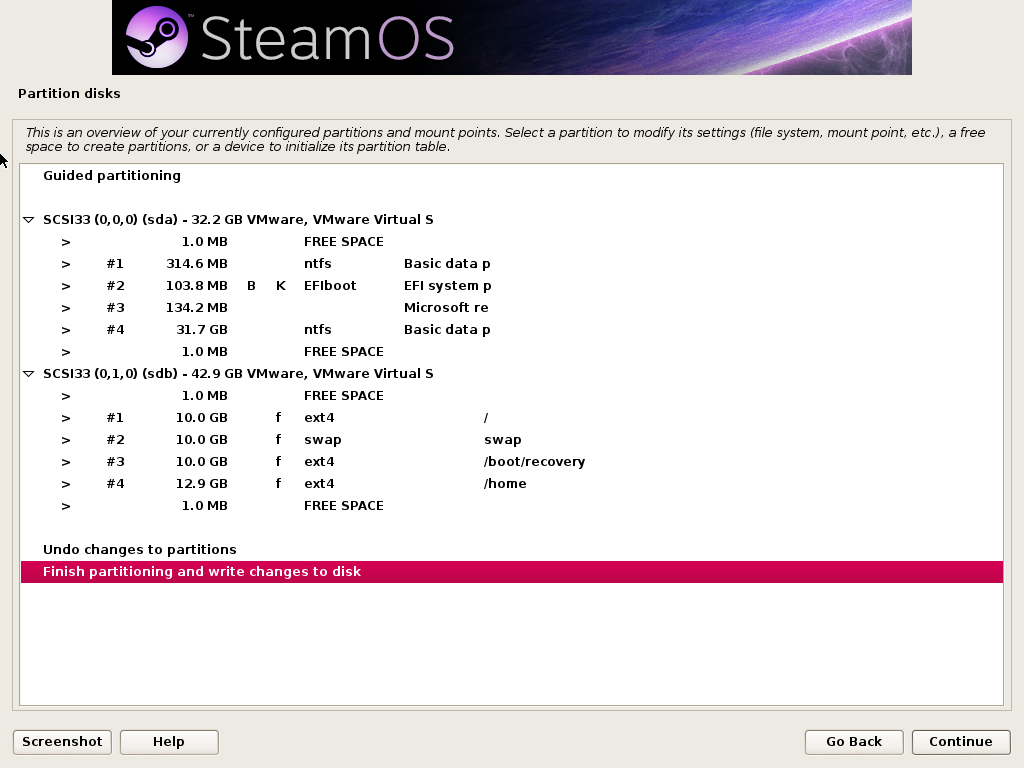 A completed partition setup