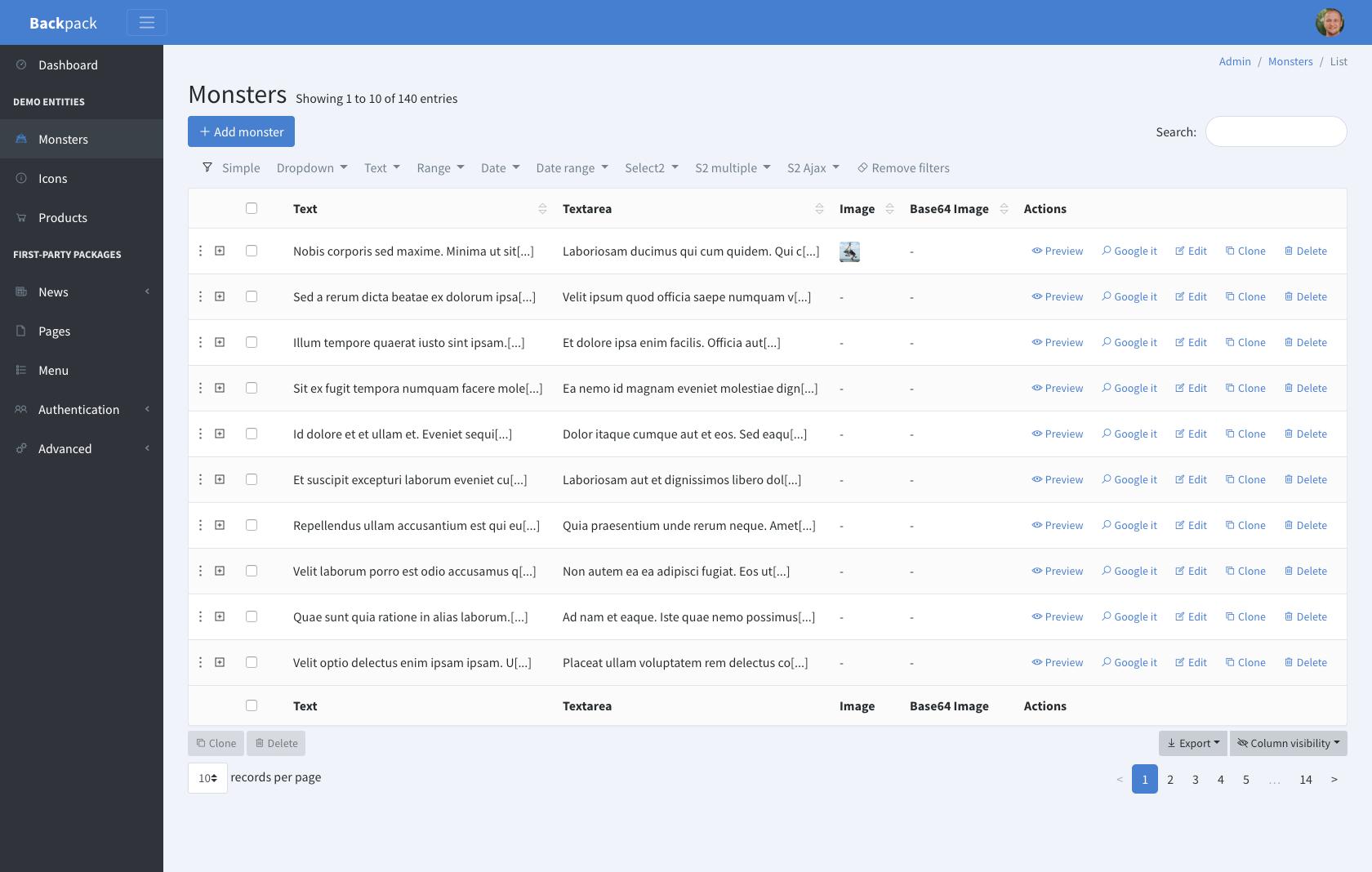 Custom sidebar and menu colours