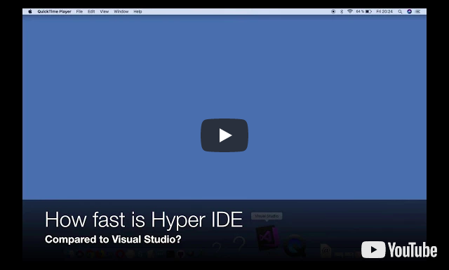 A one minute performance demonstration of Hyper IDE versus Visual Studio