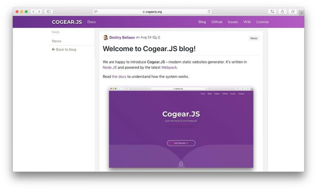 Cogear.JS blog plugin in action