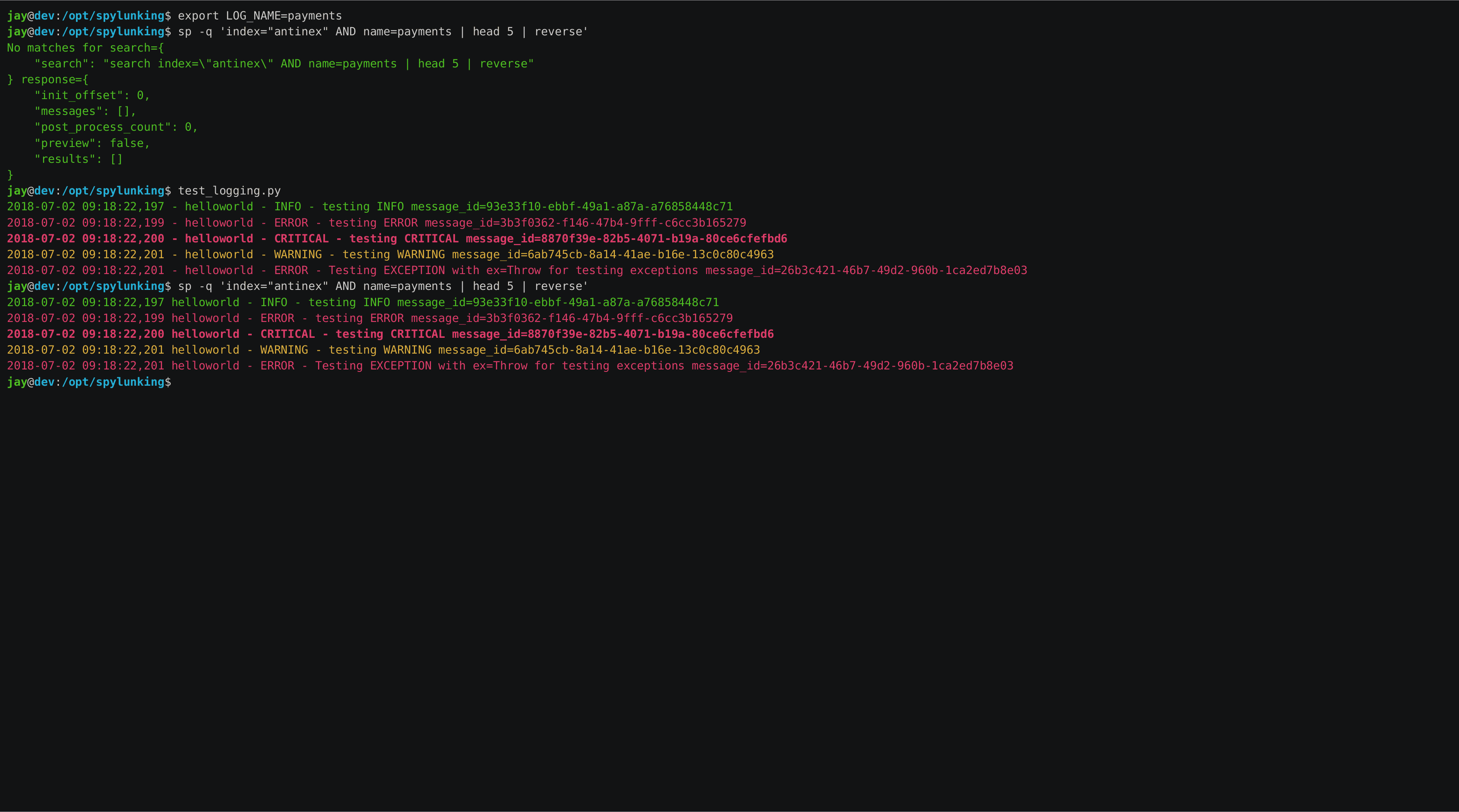 spylunking/README rst at master · jay-johnson/spylunking