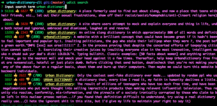 github jaebradley urban dictionary cli cli for urban dictionary