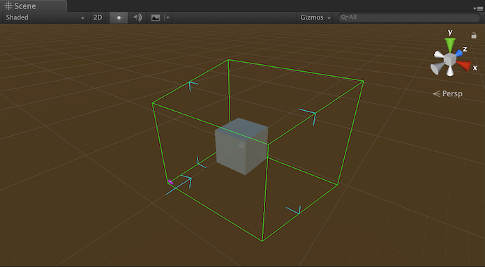 Looking Glass bounding box with a cube inside of it