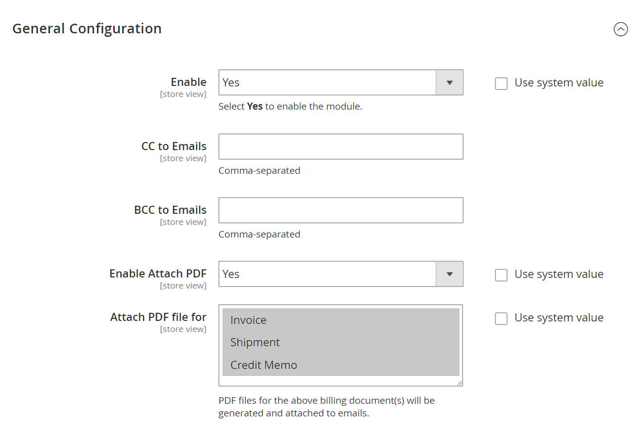 Magento 2 Email Attachment General Configuration