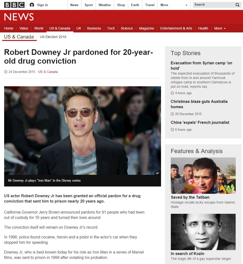 BBC News example page