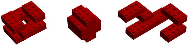 Bricks connected at right angles