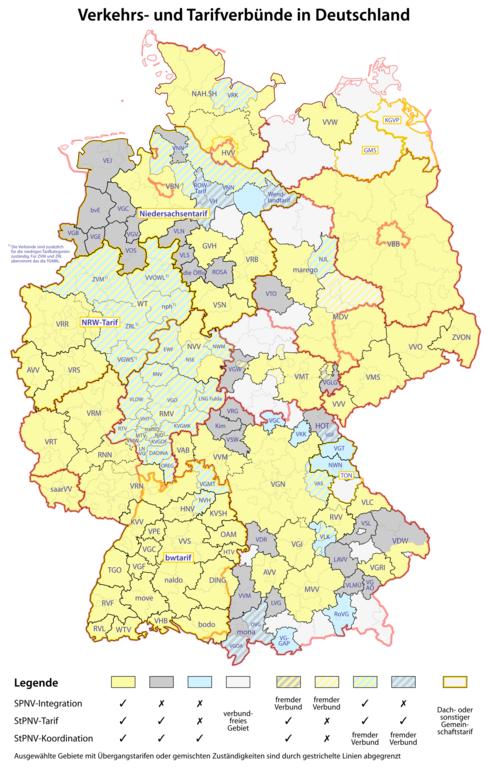 Karte der Verkehrsverbünde und Tarifverbünde in Deutschland von Maximilian Dörrbecker lizenziert unter CC BY-SA 2.5