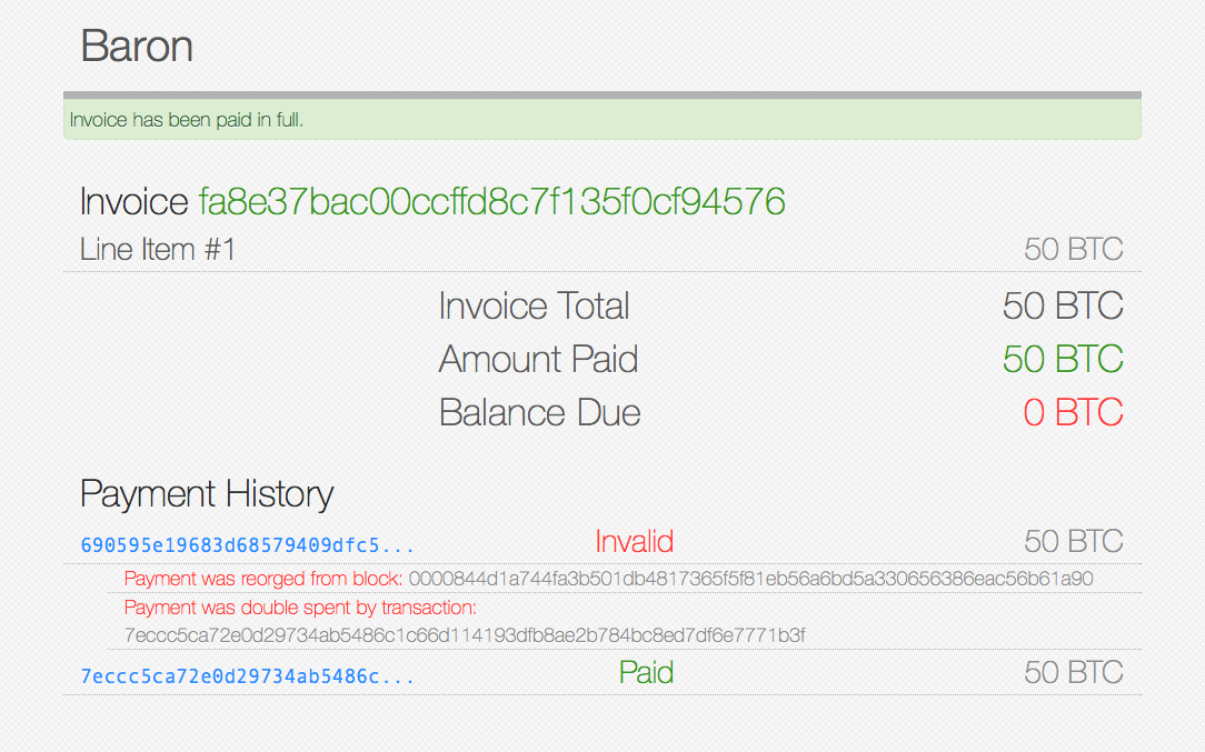 Invalid Payment Screenshot