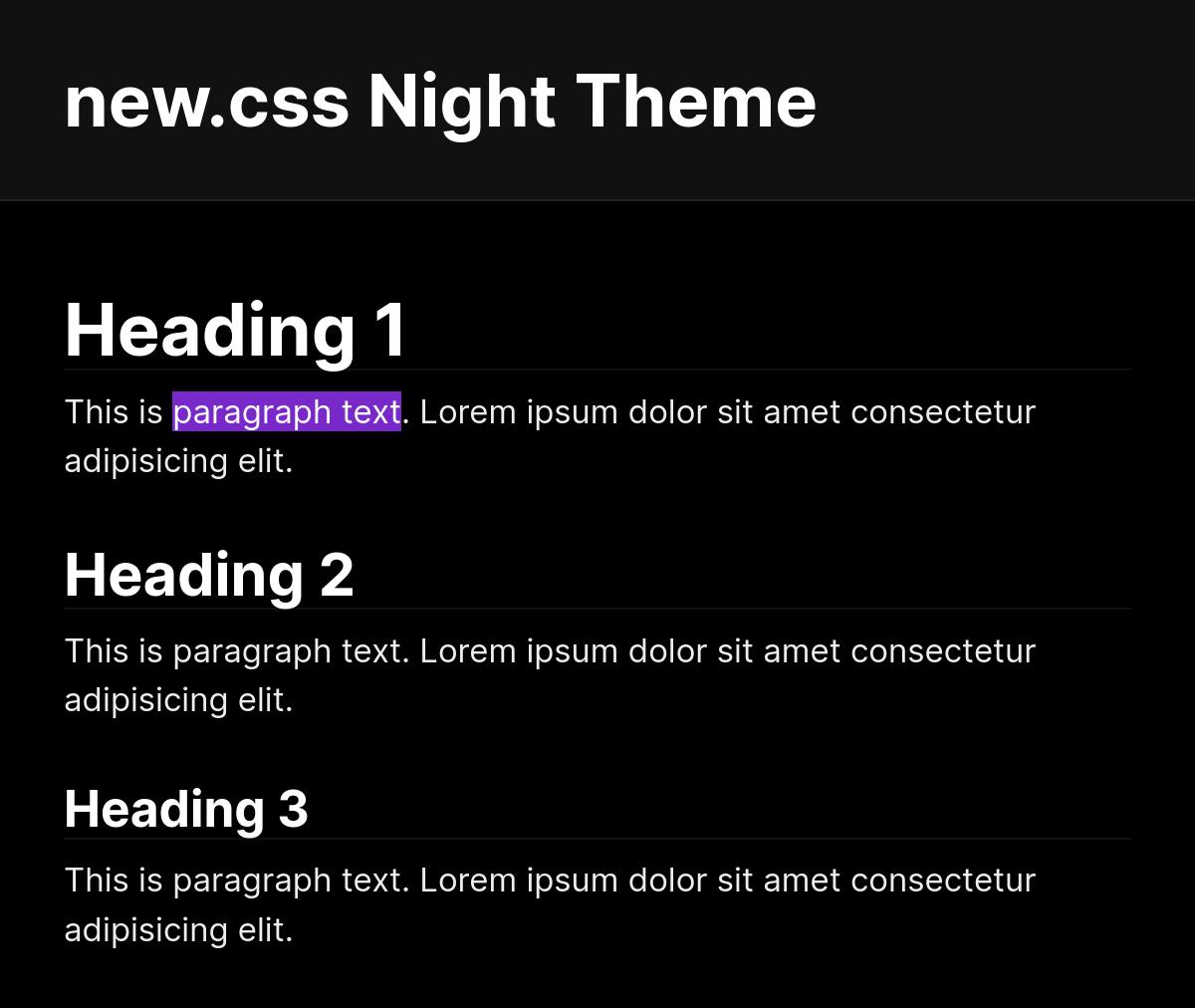Night theme