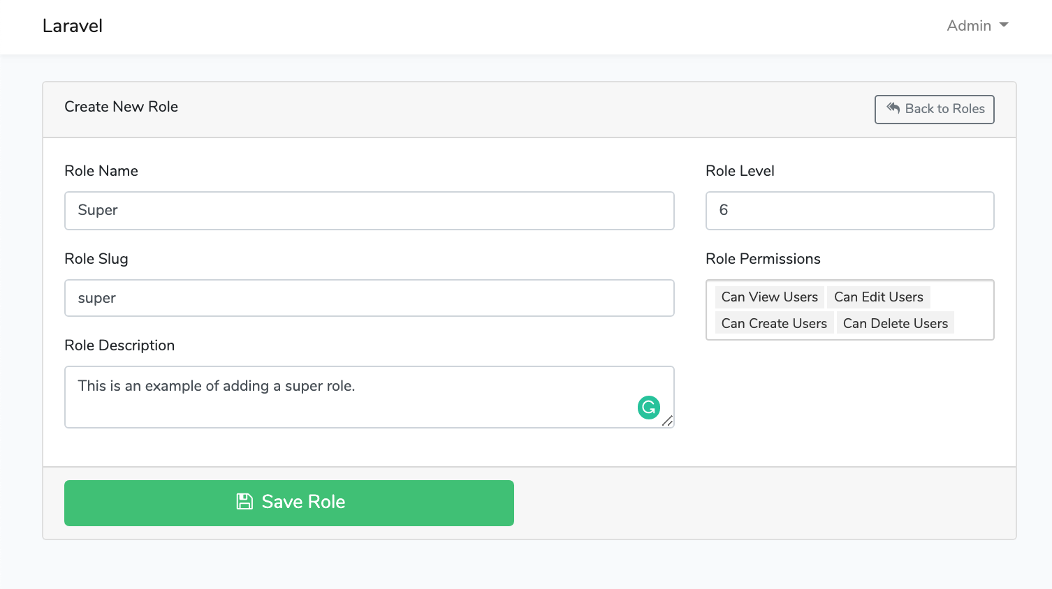 Laravel Roles GUI Create New Role