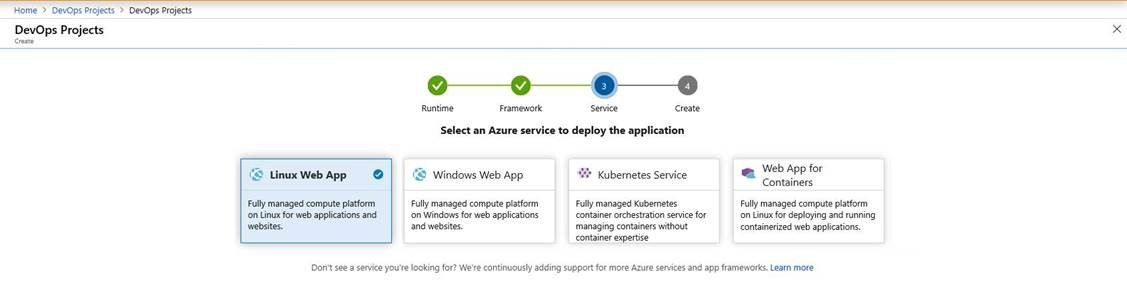 Linux Web App support for Java workflows in Azure DevOps Projects