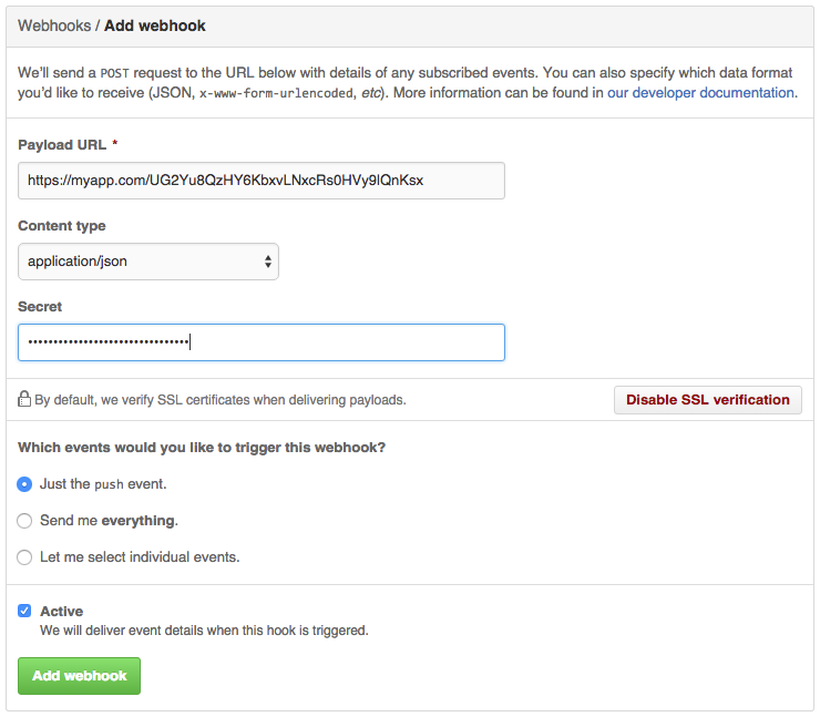 Github webhook registration screen