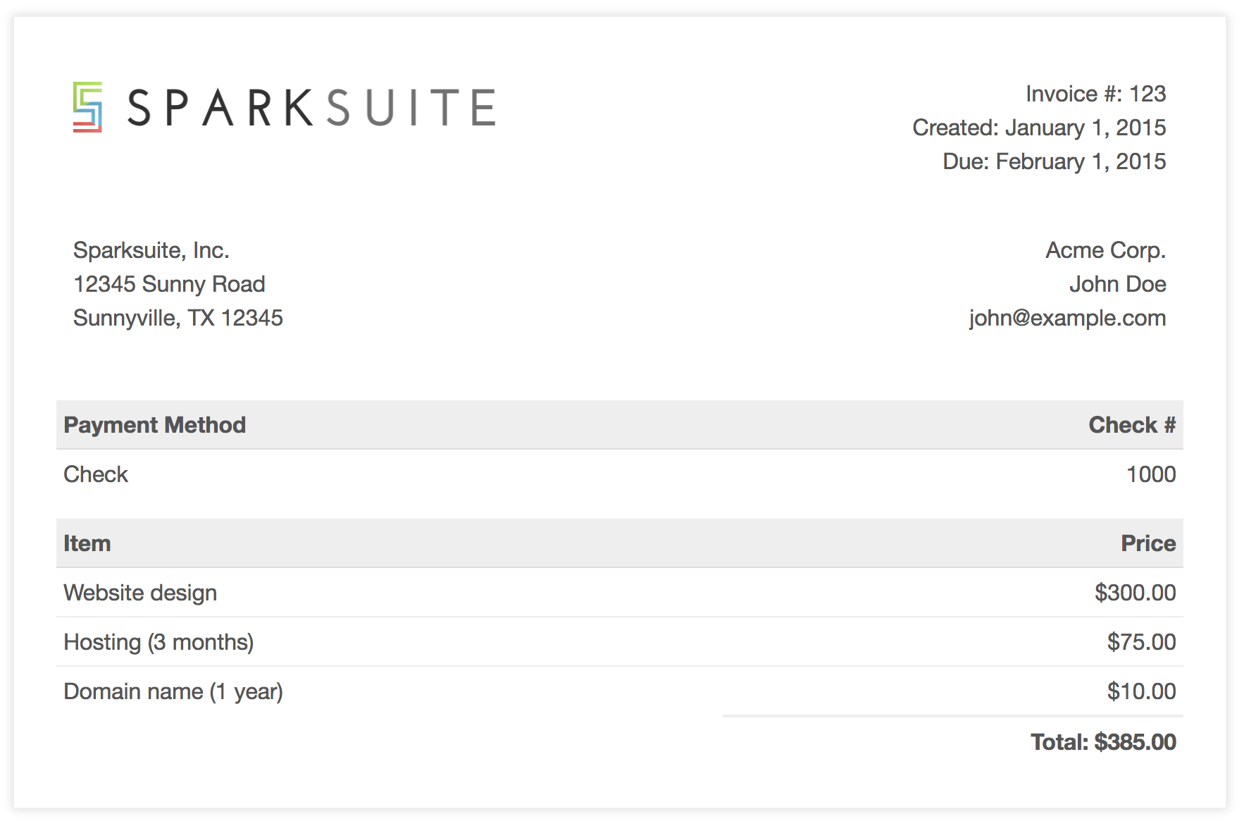 Sparksuite/simple-html-invoice-template: A Modern, Clean, And Very Simple Responsive