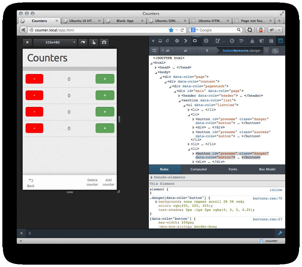 counters with an ubuntu theme