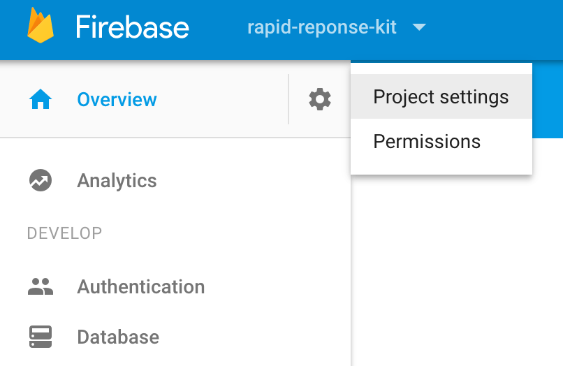 Firebase Project settings icon