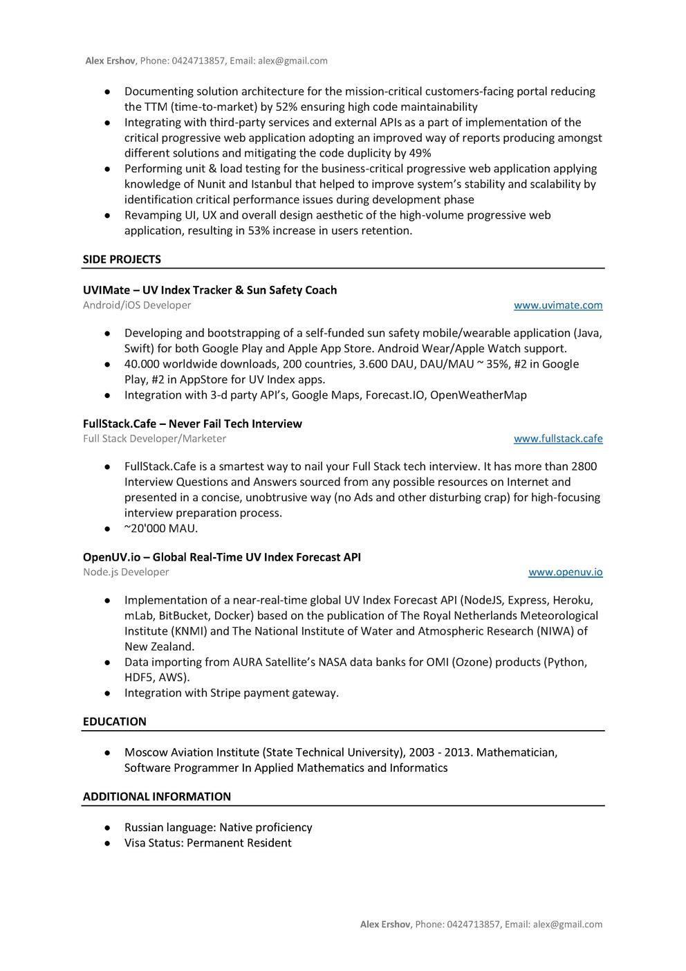 Github Aershov24 101 Developer Resume Cv Templates The