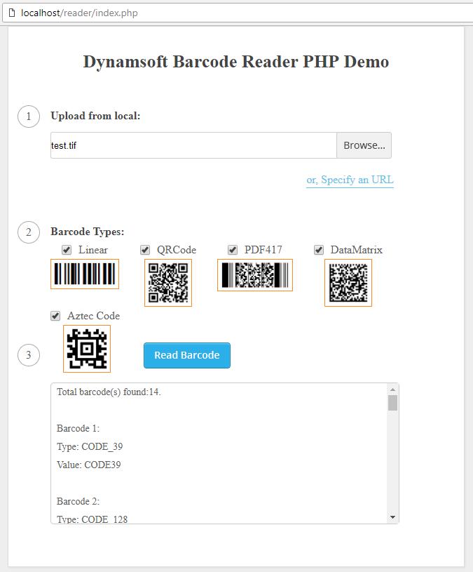 php online barcode reader