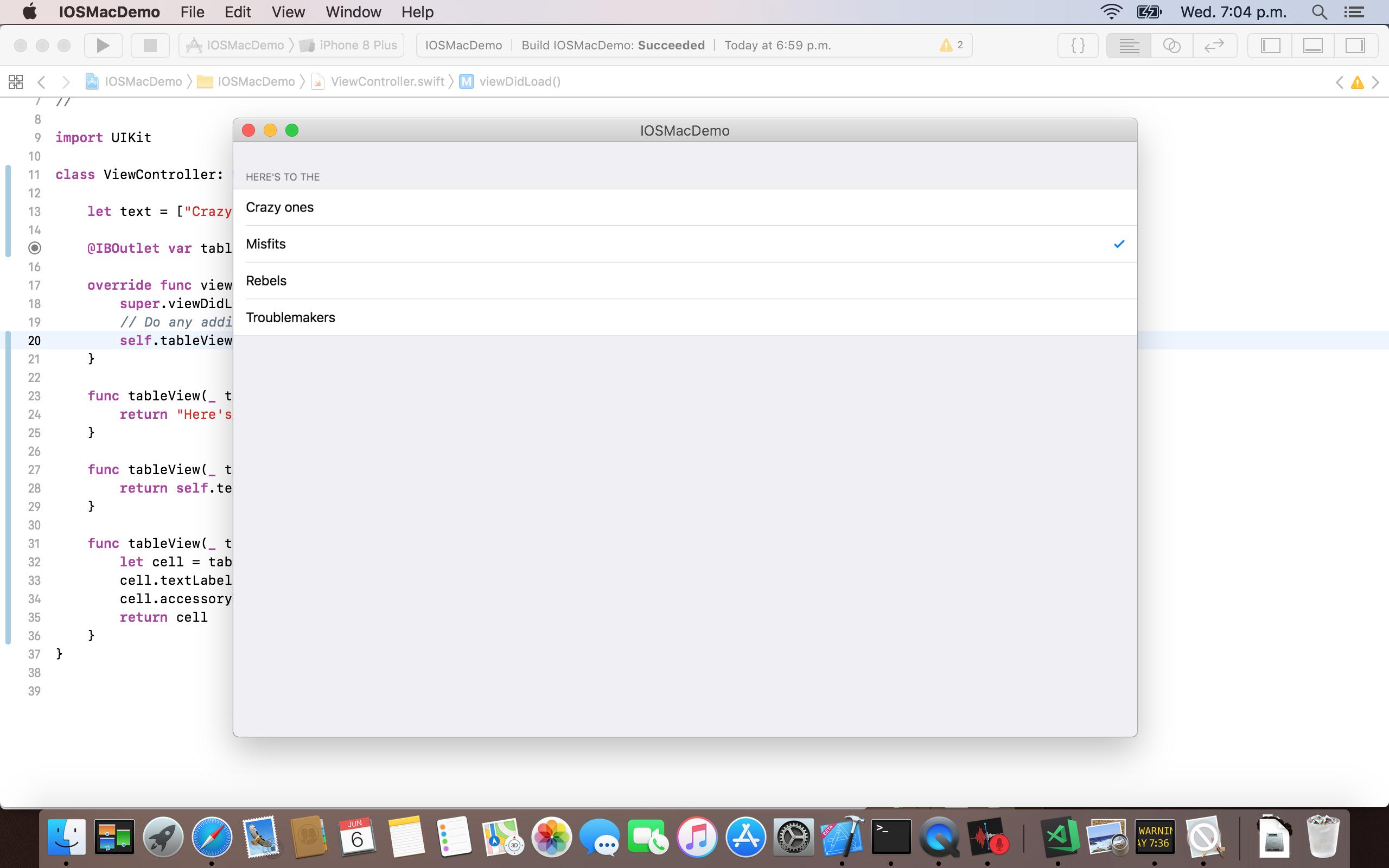 screenshot of an iOSMac app