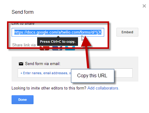Copy the Form URL