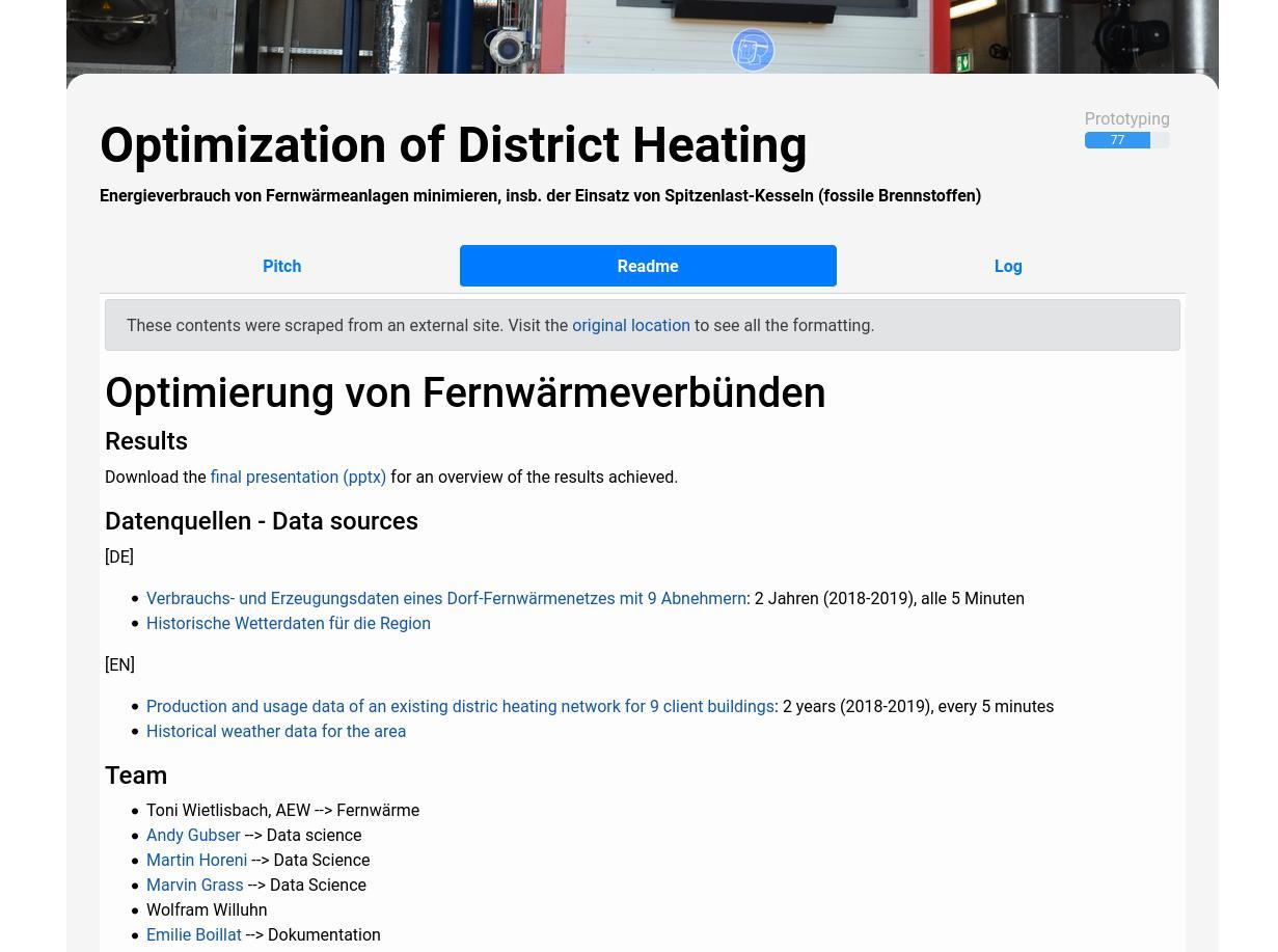 Screenshot of Optimization of District Heating