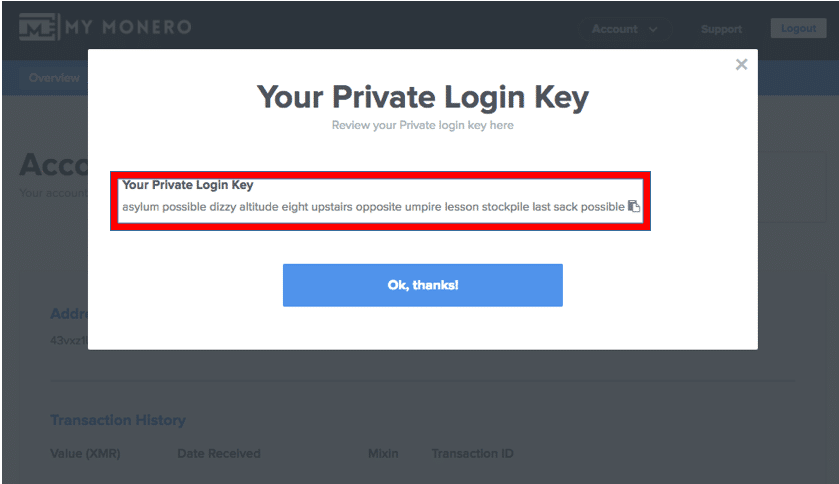 review the private login key