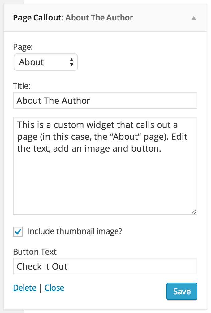 Page callout widget in the dashboard