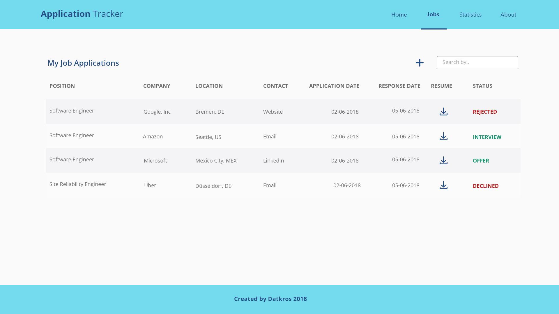 github datkros jobapplication job application tracker organize
