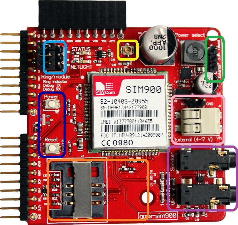 GPRS module with important parts highlighted