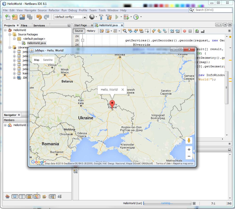 Jxmaps in netbeans jxmaps support frametdefaultcloseoperationwindowconstantsexitonclose framedmapview borderlayout frametsize700 500 gumiabroncs Gallery