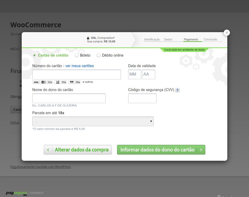Exemplo do Lightbox funcionando com o Sandbox do PagSeguro.
