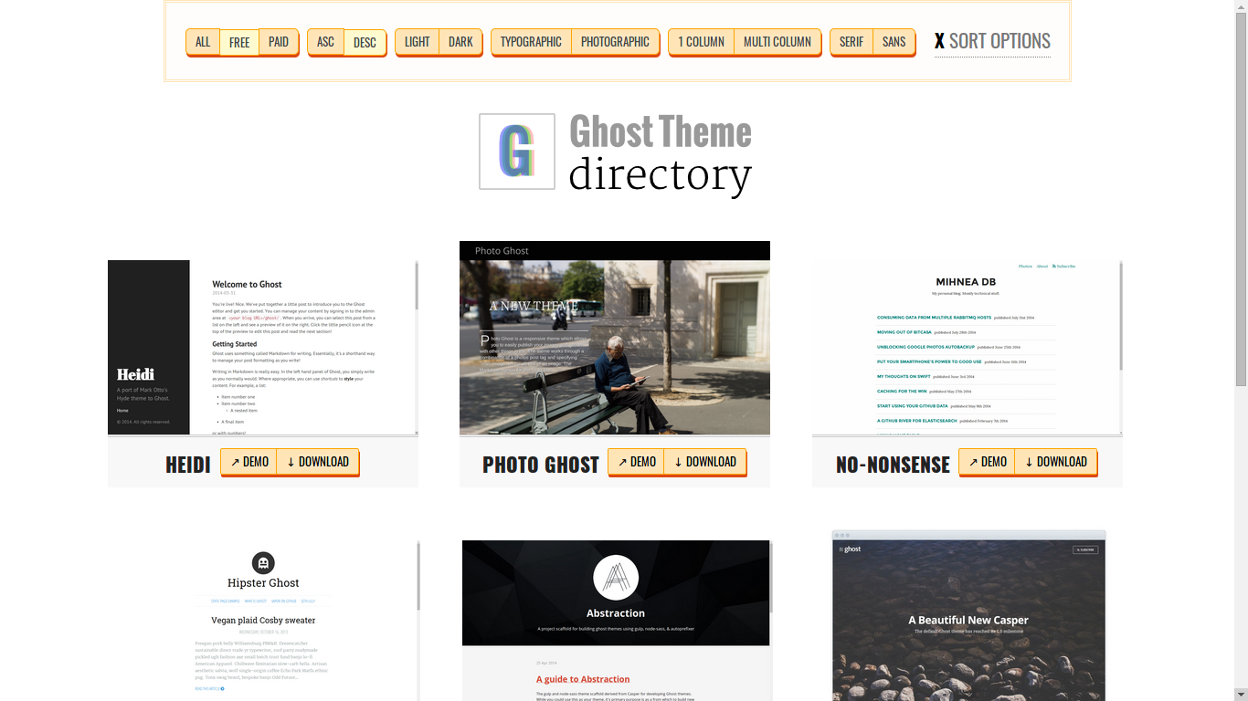 Ghost Theme Directory