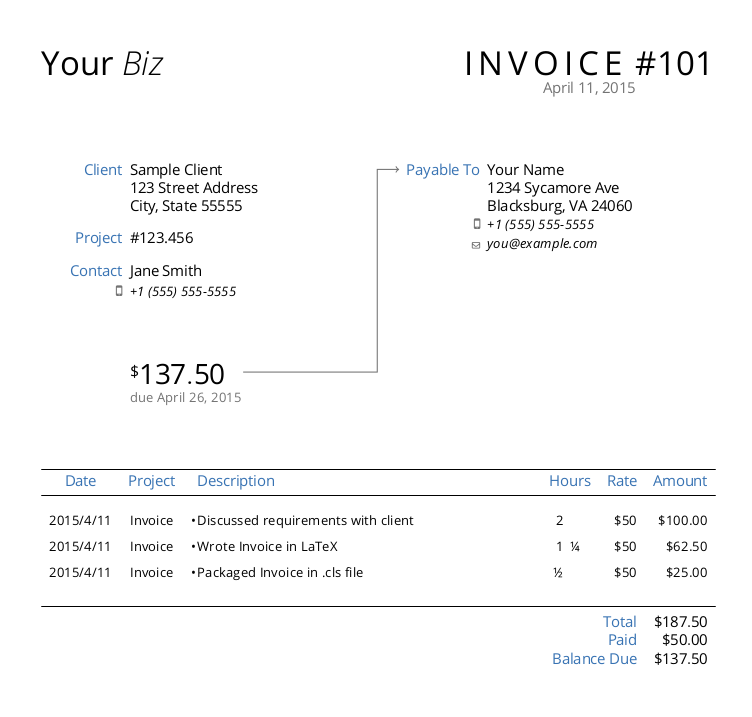 dapper invoice example