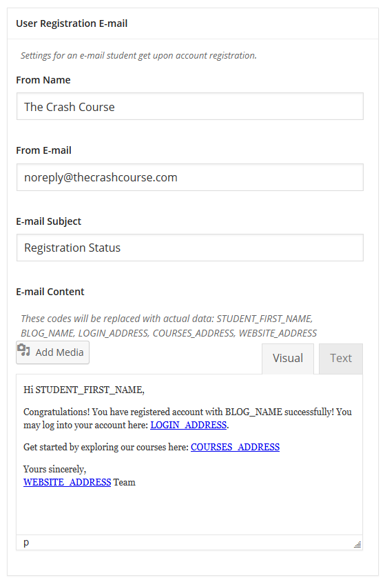 CoursePress - Settings - E-mail