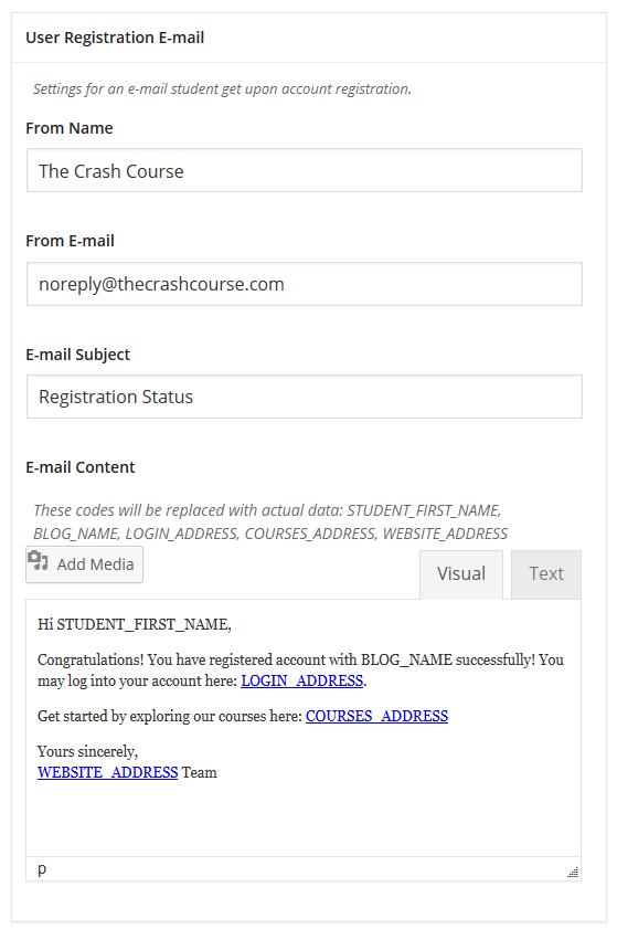 CoursePress - Settings - E-mail