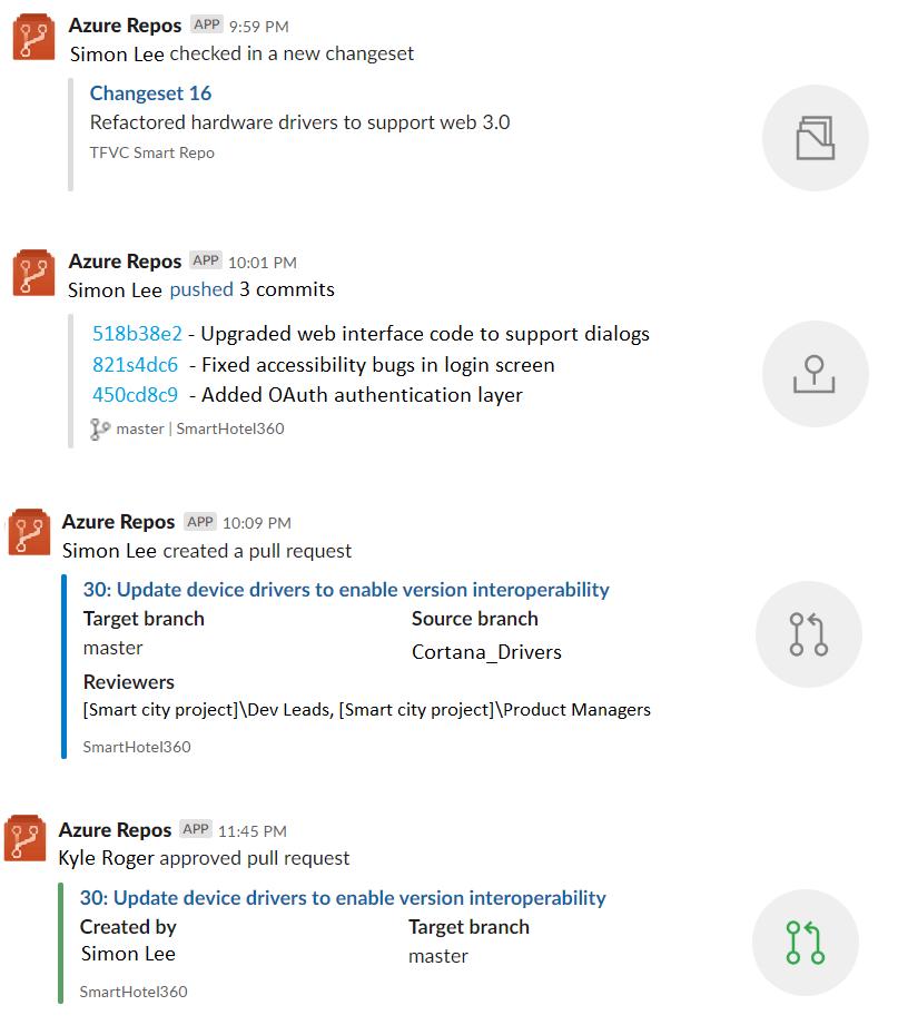 Azure Repos app for Slack