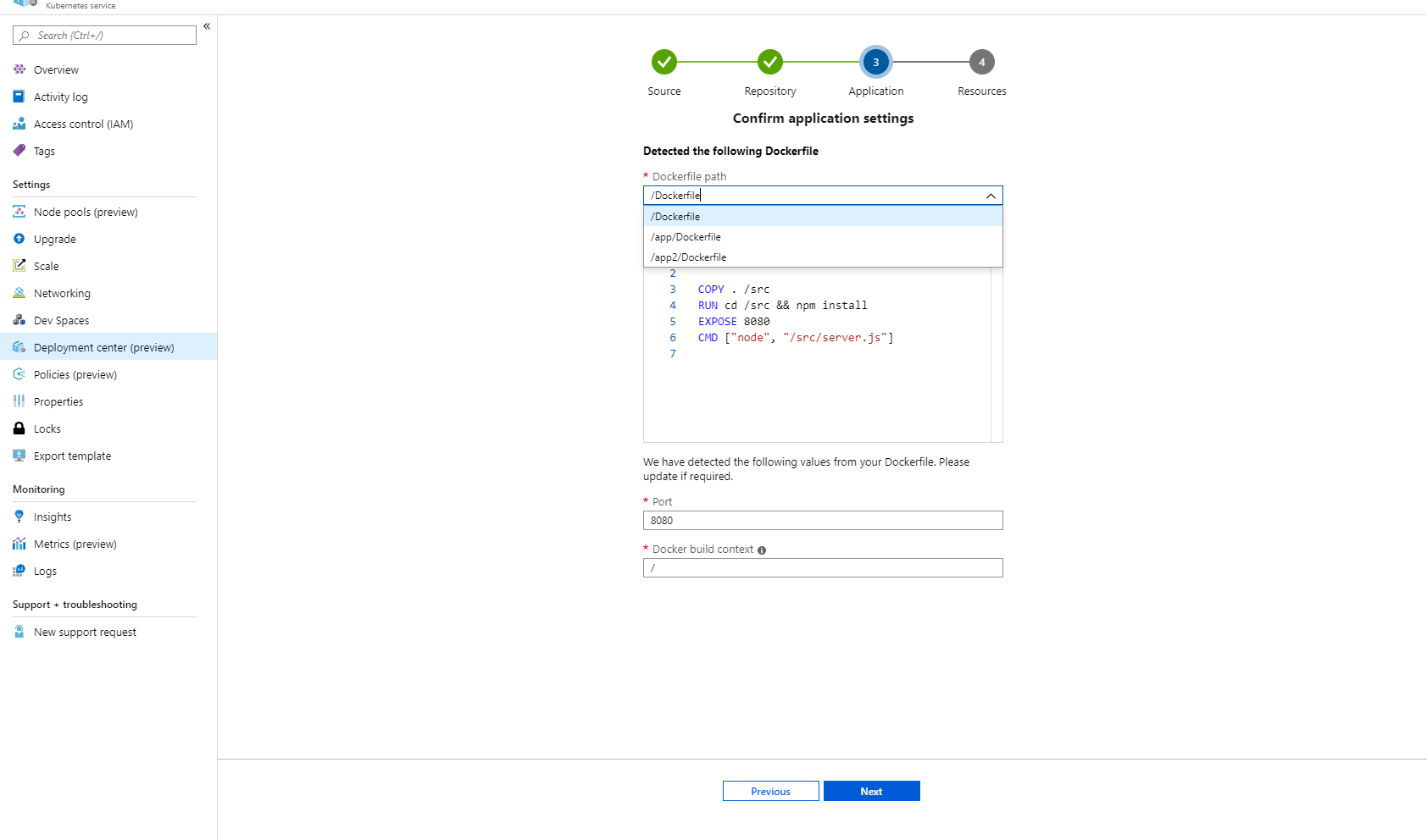 select a Dockerfile in deployment center for AKS and WebApp Containers