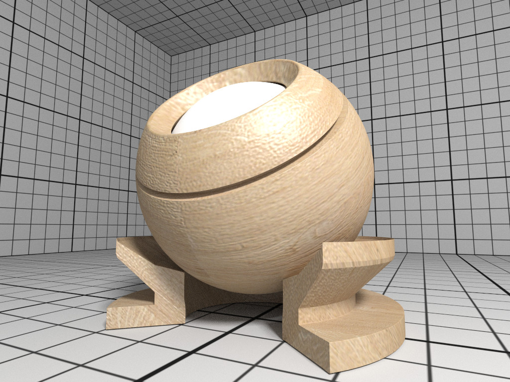 Rendering of a OBJ material with wood textures.
